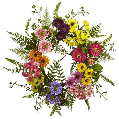 Nearly Natural Mixed Flower 22 In Wreath 4581 - The Home .